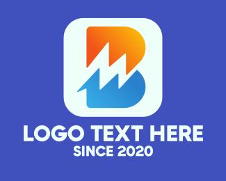Utility - Electric Letter B App logo design