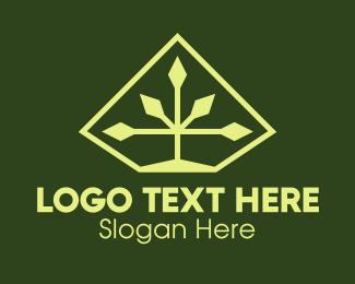 Tree - Green Geometric Plant logo design