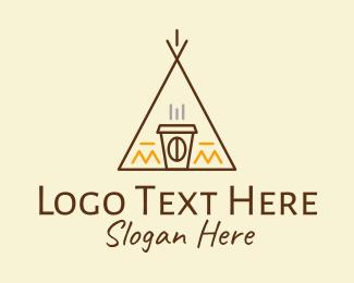 Tipi - Monoline Cafe Tent  logo design