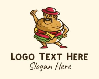 Food Cart - Burger Man Mascot logo design