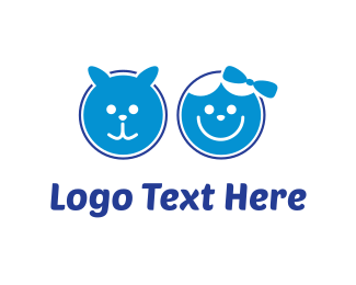 Smiling - Blue Pet & Blue Kid logo design