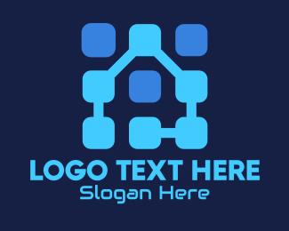 Data Storage - Blue Tech House logo design