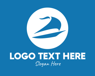 Sailboat - Blue Sailboat  logo design