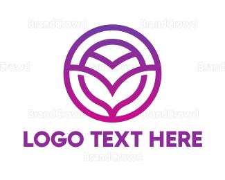 Emblem - Gradient Purple V Emblem logo design