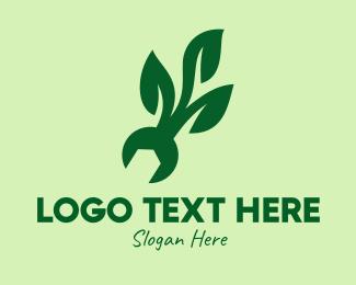 Repairman - Natural Mechanical Leaf logo design