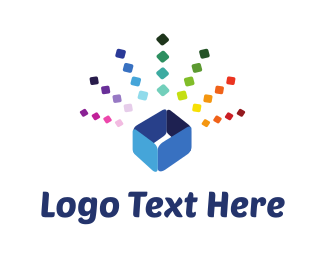 Jewel - Colorful Blue Box logo design