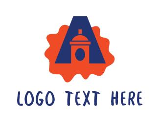 Ink Splatter - Spray Can Ink Splatter Letter A logo design