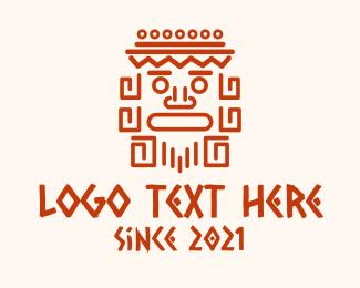 Simple - Aztec Head Statue logo design
