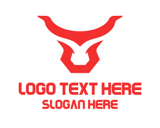 Cowboy - Abstract Red Horns logo design