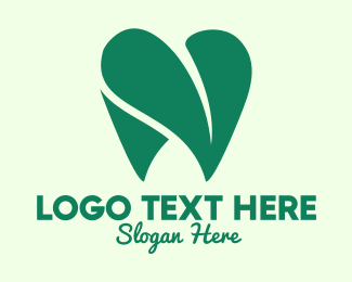 Dentistry - Green Eco Dentistry Heart logo design