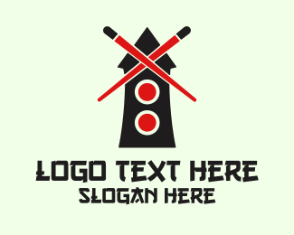 Windmill - Sushi Mill logo design