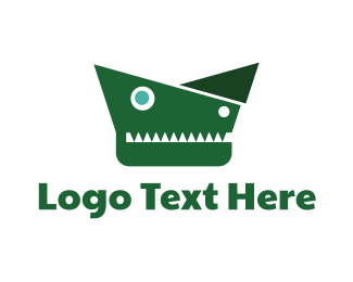 Green Crocodile - Geometric Alligator  logo design