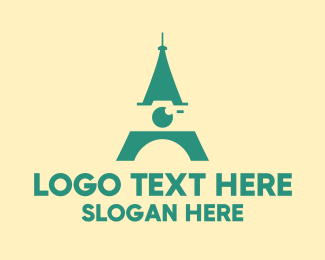 Travel Destination - Eiffel Tower Camera  logo design