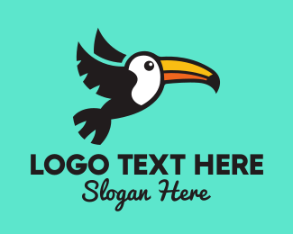 Toucan Bird - Flying Tropical Toucan logo design