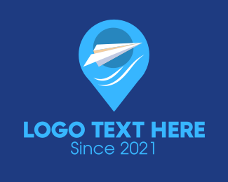 Flight Tracker - Paper Plane Location Pin logo design
