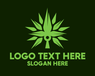 Cbd Oil - Spikey Cannabis Plant logo design