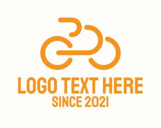 Bike Tour - Orange Outline Bike logo design