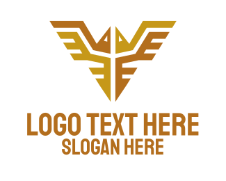 Gold Feather - Golden Bird Emblem logo design
