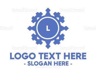 Cultural - Geometric Blue Emblem logo design