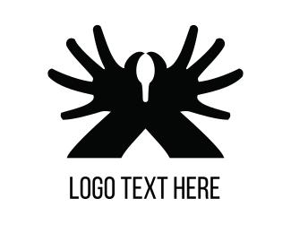 Unique - Black Hand Swan  logo design