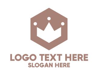 Badge - Polygon Crown Badge logo design