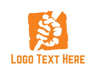 Fist - Orange Fist  logo design