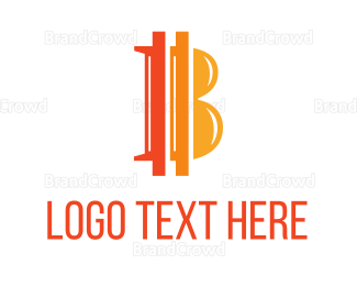 Crypto - Orange Bitcoin B logo design