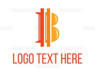 Blockchain - Orange Bitcoin B logo design