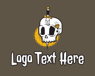 Mascot - Skull Dagger Tattoo logo design
