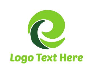 Whirl - Green E Eco logo design