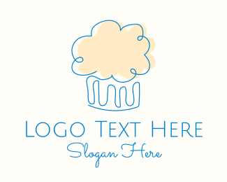 Pink Cake - Simple Muffin Cupcake logo design