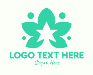 Veggie - Green Herb Star logo design