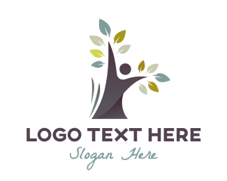 Support - Black Tree Person logo design