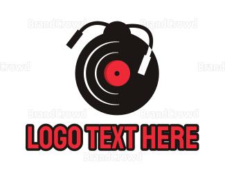 Music Production - Vinyl Ladybug logo design