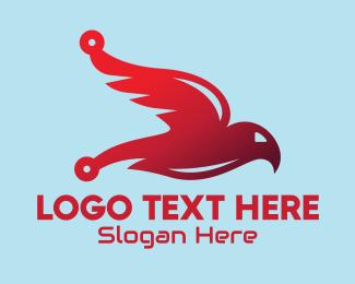 Communicate - Red Tech Bird logo design