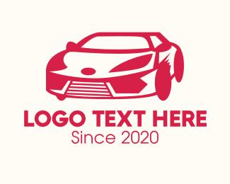 Car - Red Sports Car logo design