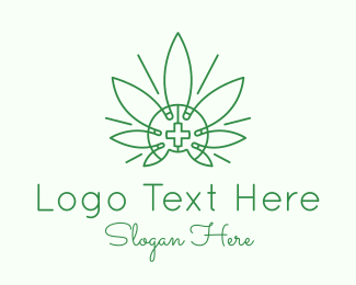 Medical Drug - Medical Marijuana Outline logo design