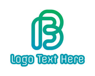 Pc Cafe - Gradient B Outline logo design