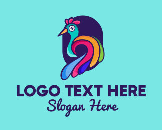 Peafowl - Colorful Peacock logo design
