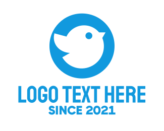 Icon - Blue Cute Little Bird Chat logo design