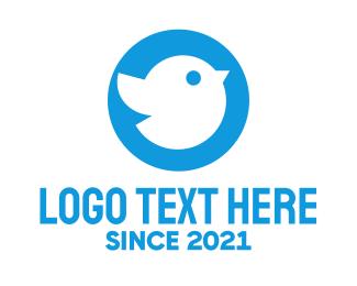 Twitter - Blue Cute Little Bird Chat logo design