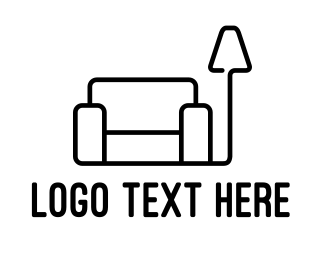 Couch - Minimalist Furniture Outline logo design