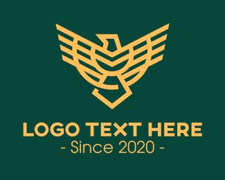 Badge - Golden Military Eagle Badge logo design
