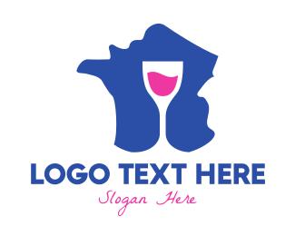 France - Blue France Winery logo design