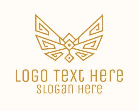 Brand - Gold Wings Outline logo design