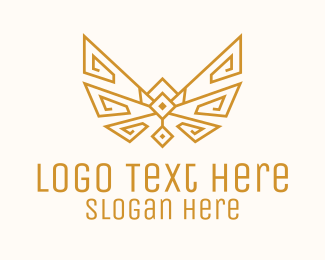 Spa - Gold Wings Outline logo design
