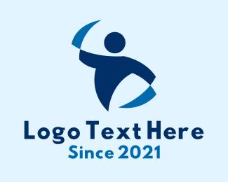 Dancing - Blue Dancer Performer logo design