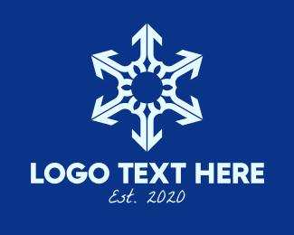 Snowy - White Winter Snowflake  logo design