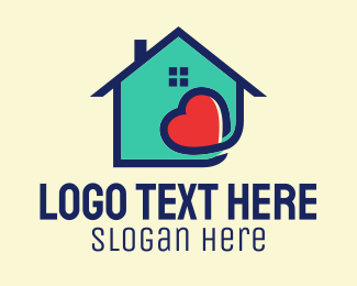Nursing Home - Cute Heart Housing logo design