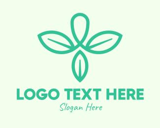 Tea Leaves - Green Organic Leaves logo design